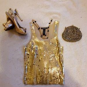 Bisou Bisou gold sequin tank top